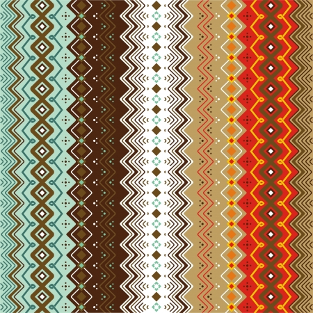 border line: Ethnic pattern background with geometrically elements in two different color motifs Illustration