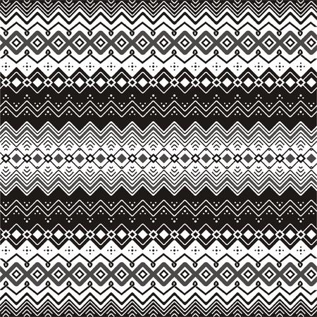 Achtergrond met etnische motieven naadloos patroon in zwart en wit