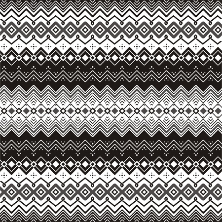 motifs: Background with ethnic motifs seamless pattern in black and white Illustration