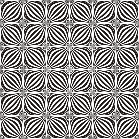 optical image: Seamless background in black and white. Optical illusion with geometric drawing. Illustration