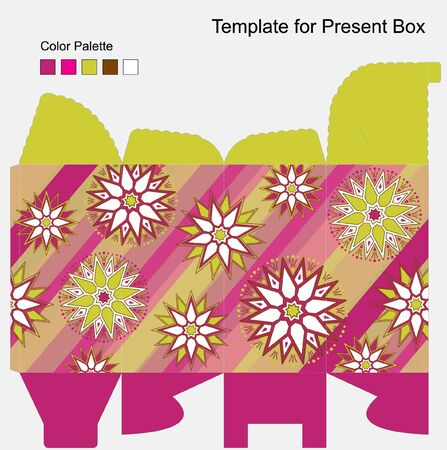 box template: Vector template for colourfull gift box