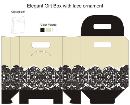 box template: Elegant gift box with lace ornament Illustration
