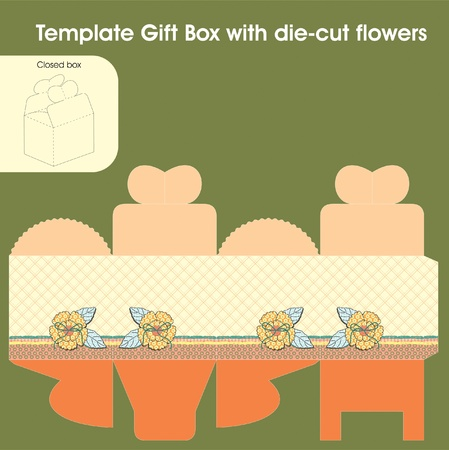 Template gift box for candy with die-cut flowers Vector