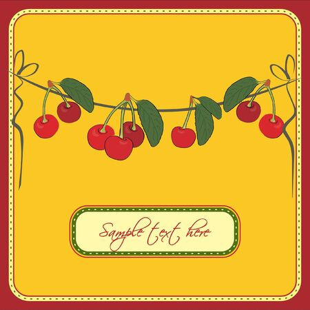 Greeting card with fresh cherries Vector