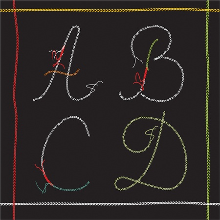 ABCD vector set  alphabet based on sewing letters Vector
