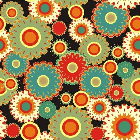 Seamless flourish circle with black background Illustration