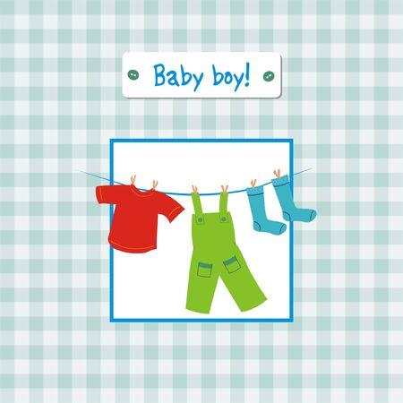 Baby boy anniversary invitation card Vector