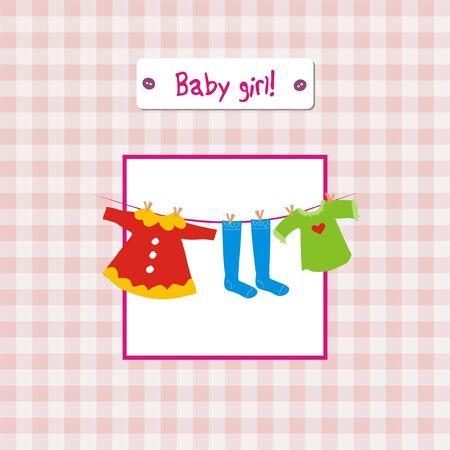 Baby girl anniversary invitation card Vector