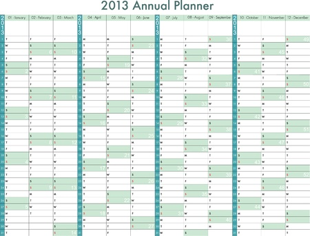 2013 calendar  Annual Planner  Week starts on Sunday Vector