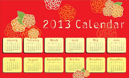 2013 calendar with floral ornaments Vector