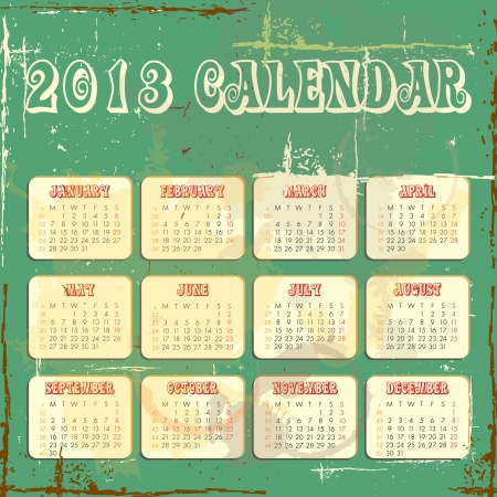 calender for 2013 in square design with grunge background Vector