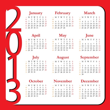 Calendar for Year 2013 Stock Vector - 14150977