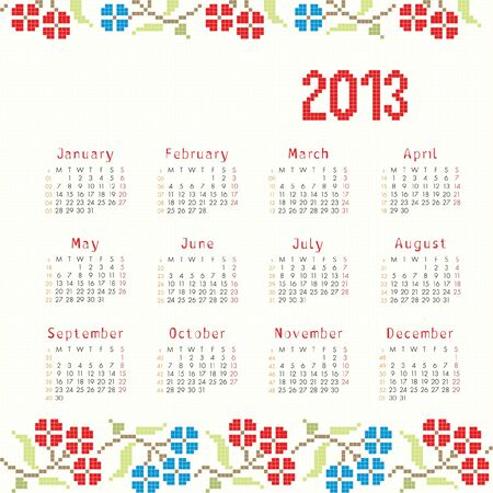 2013 cross stitch ethnic calendar Vector
