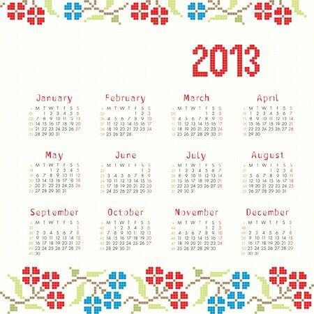 2013 cross stitch ethnic calendar Vector