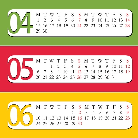 Three Month calendar for year 2013  April, May, June Vector