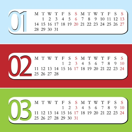 Three Month calendar for year 2013  January, February, March Stock Vector - 14150951