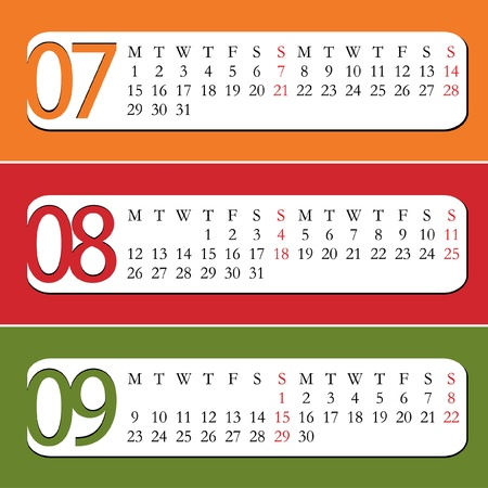 Three Month calendar for year 2013  July, August, September Vector