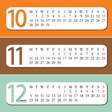 Three Month calendar for year 2013  October, November, December Vector