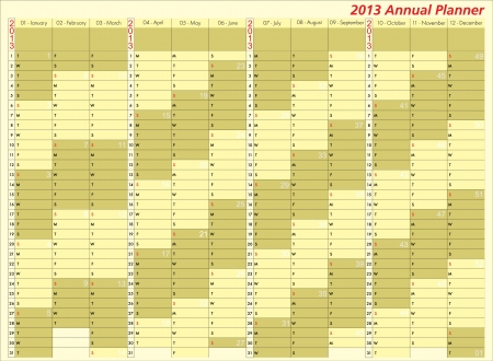 2013 calendar. Annual Planner. Week starts on Sunday Vector