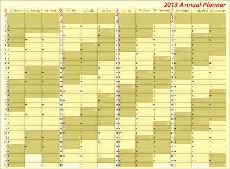 2013 calendar. Annual Planner. Week starts on Sunday Illustration