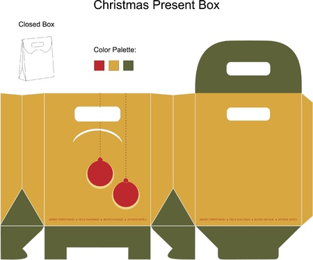 packaging template: Decorative christmas box with die cut Christmas Ornaments
