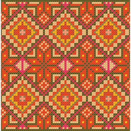 Ethnic cross stitch pattern. Seamless background. Vector