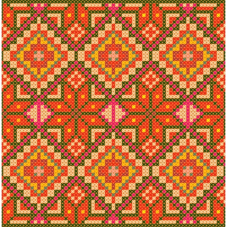 scandinavian people: Ethnic cross stitch pattern. Seamless background.