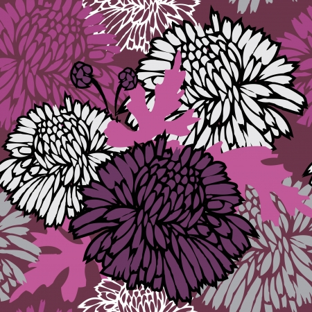 chrysanthemum: Seamless pattern with flowers. Floral background.