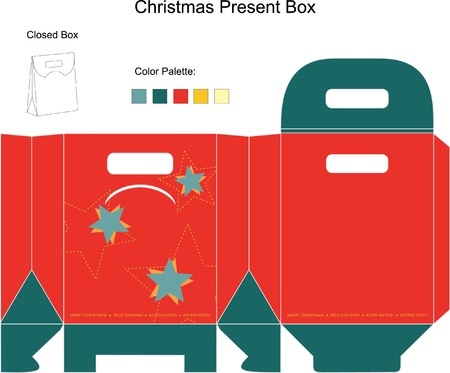Decorative Christmas Box with die cut tchristmas ornaments Vector