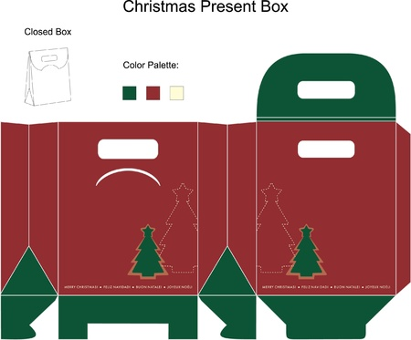 Decorative christmas box with die cut tree Vector