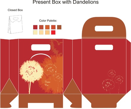 flimsy: Decorative gift box with dandelion flowers Illustration