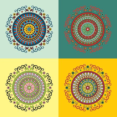 Set of four ethnic motifs in different colors Vector
