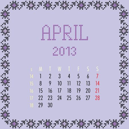 April 2013. Vintage monthly calendar. Vector
