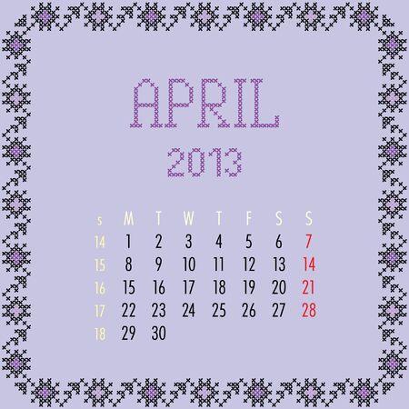 April 2013. Vintage monthly calendar. Stock Vector - 14151015