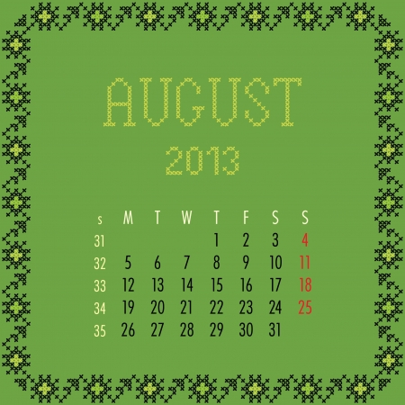 August 2013.  Vintage monthly calendar. Vector