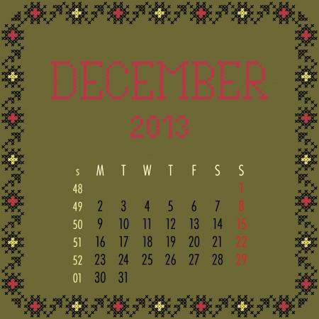 December 2013. Vintage monthly calendar. Vector