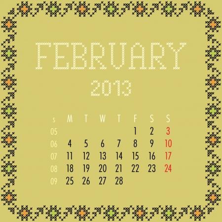 February 2013. Vintage monthly calendar. Stock Vector - 14151101
