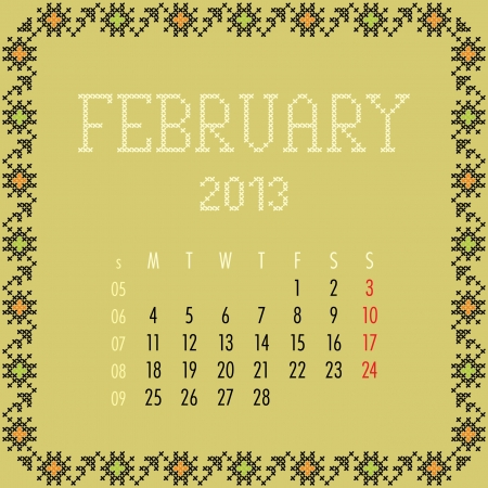 February 2013. Vintage monthly calendar. Vector