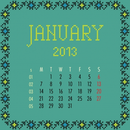 monthly calendar: January 2013. Vintage monthly calendar.