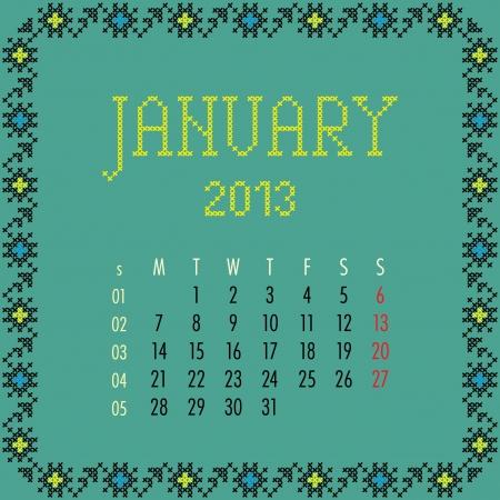 January 2013. Vintage monthly calendar.