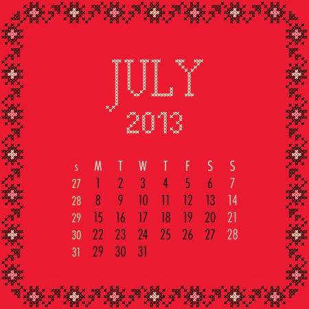 July 2013. Vintage monthly calendar. Vector