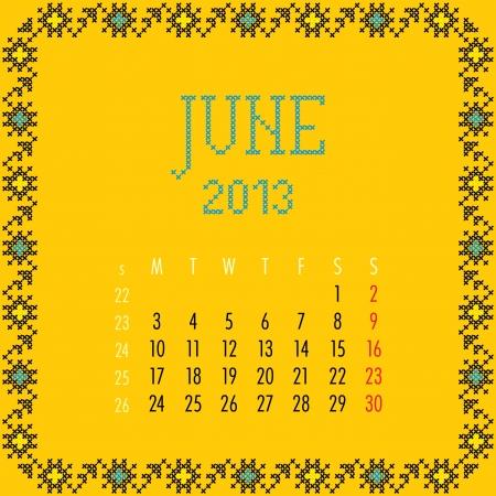 June 2013. Vintage monthly calendar. Stock Vector - 14151212