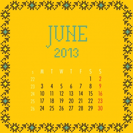June 2013. Vintage monthly calendar. Vector