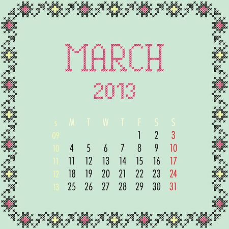March 2013. Vintage monthly calendar. Vector