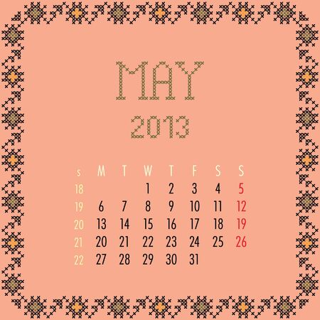 May 2013. Vintage monthly calendar. Vector