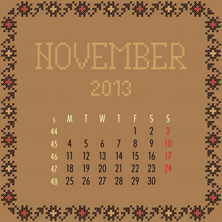 November 2013. Vintage monthly calendar. Vector