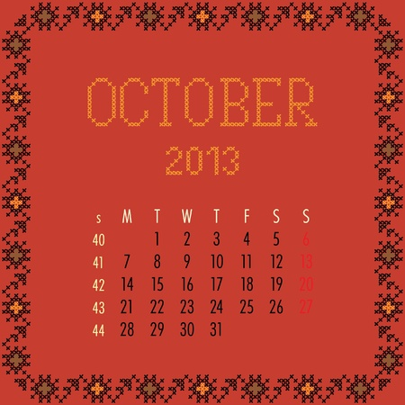 October 2013. Vintage monthly calendar. Vector