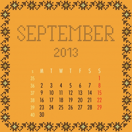 September 2013. Vintage monthly calendar. Vector