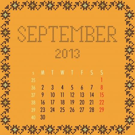 September 2013. Vintage monthly calendar.