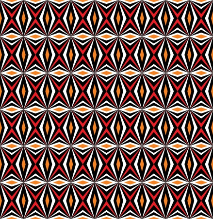 Folk pattern in black and red. Seamless vector background. Vector